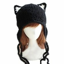 Chrysea Handmade Earflap Beanie Cat Ears Knit Hats for Teen Girls and Young
