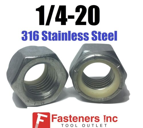 1//4-20 UNC 316 Stainless Steel Nylon Insert Lock Nut Nylock GRADE 316 Qty 250