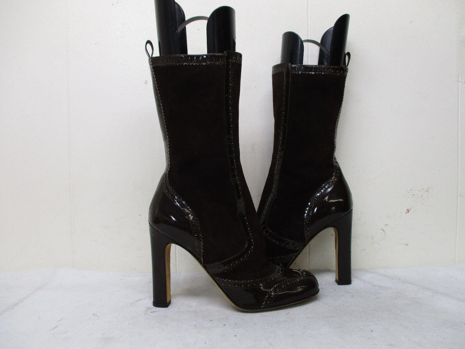 Alexandra Neel Brown Leather Suede Zip High Heel Mid Calf Boots Womens Sz 40 EUR