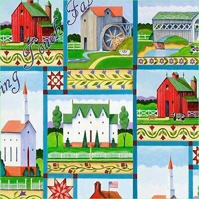 "Jim Shore Village Farm Panel 100/% cotton 43//44/"" Fabric by the panel"