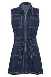 Front Womens Denim Sleeveless Zip Dress Shirt Short Collar Pockets wtftZFrxnq