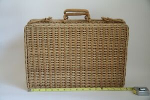 Vintage Woven Wicker Rattan Picnic Basket Suitcase Style Storage Kitchen Decor
