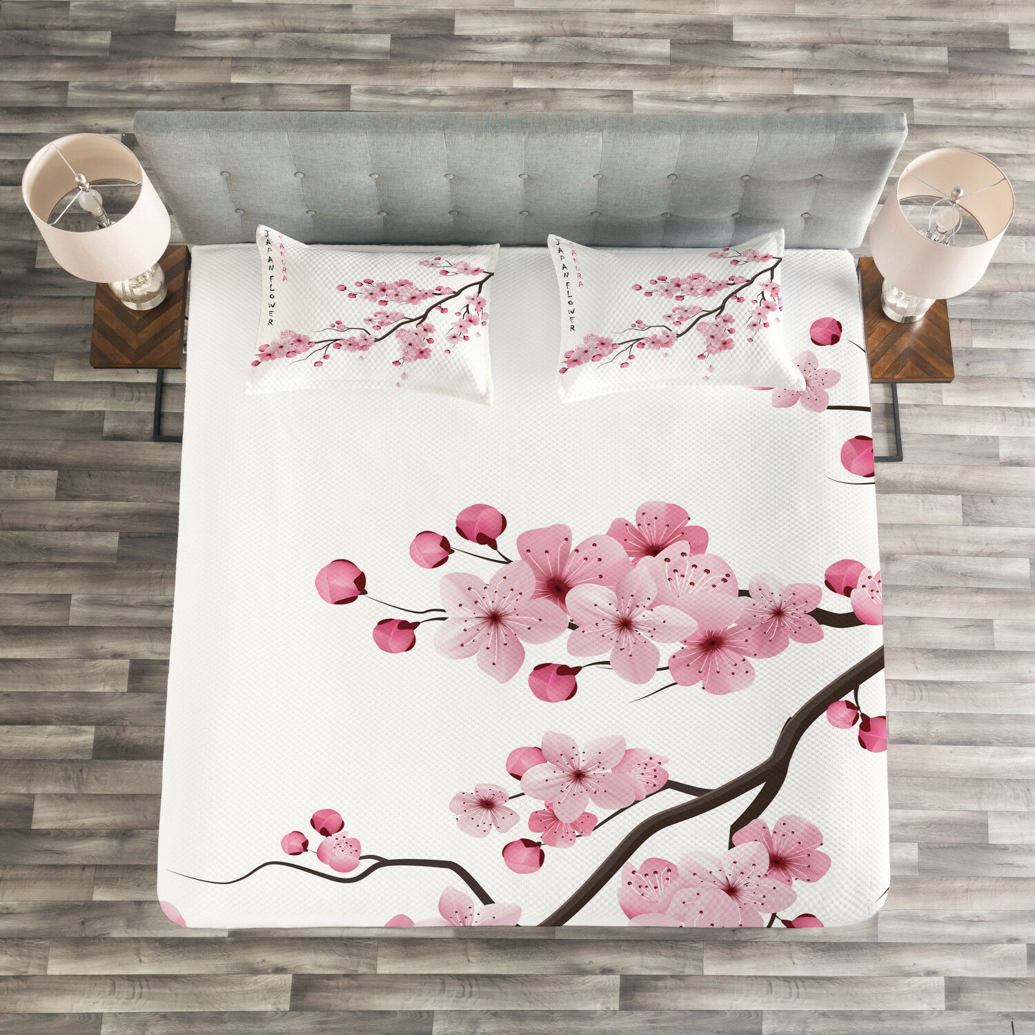 Asian Quilted Bedspread & Pillow Shams Set, Japanese Cherry Branch Print