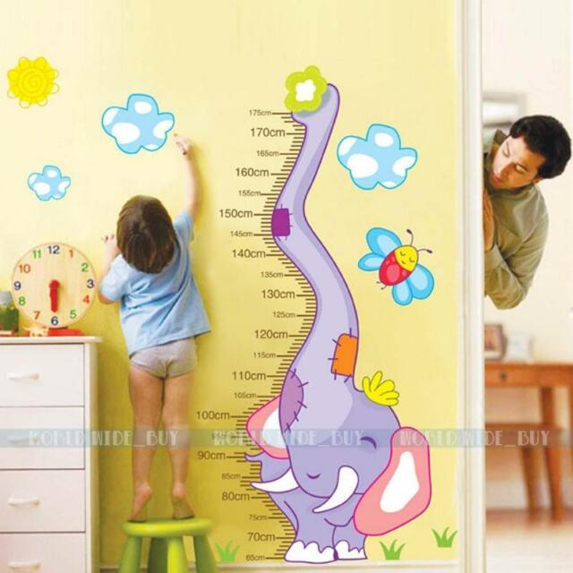 Elephant Removable Vinyl Wall Decal Stickers Kid Height Chart Measure Nursery