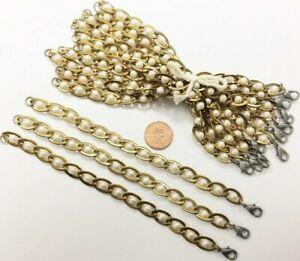 Vintage Japanese Brass Box Chain Jet Black Pearl Beaded 7 Bracelet D249