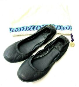 TORY-BURCH-BLACK-LEATHER-BALLET-FLATS-Shoes-Size-6-5-8263