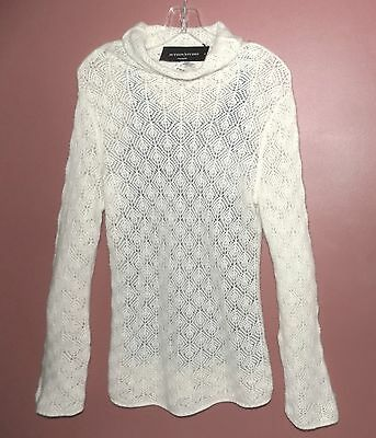 NWT Pure cashmere sweater M $188 Lacy Ivory Pullover White Layer Sutton Studio