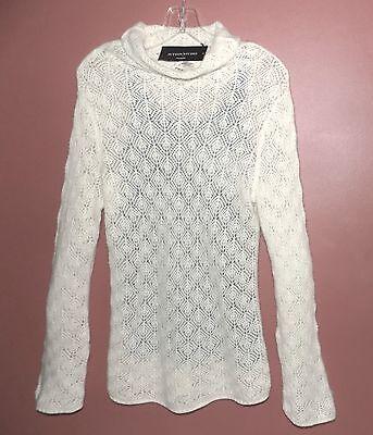 NWT Pure cashmere sweater M $188 Lacy Ivory Pullover White Layer Sutton Studio