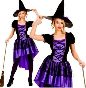 Ladies-DELUXE-GLAMOROUS-PURPLE-WITCH-Halloween-Fancy-Dress-Costume-UK-Sizes-6-24