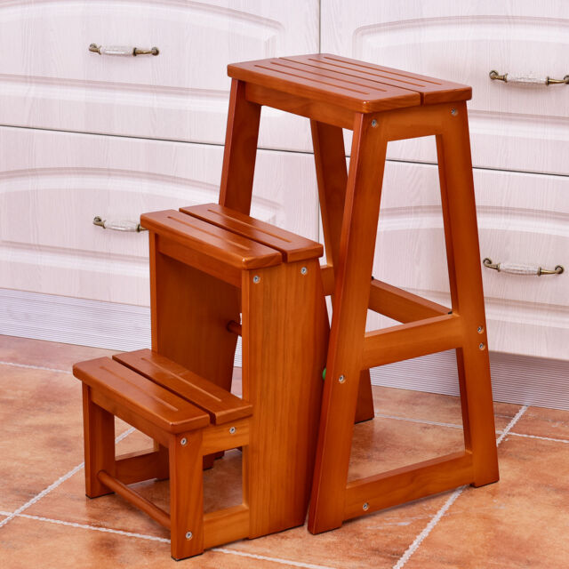 Superb Wood Step Stool Folding 3 Tier Ladder Chair Bench Seat Utility  Multi Functional