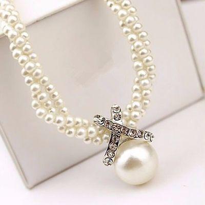 Fashion Women Pendant Chain Choker Chunky Pearl Statement Bib Necklace Jewel NE