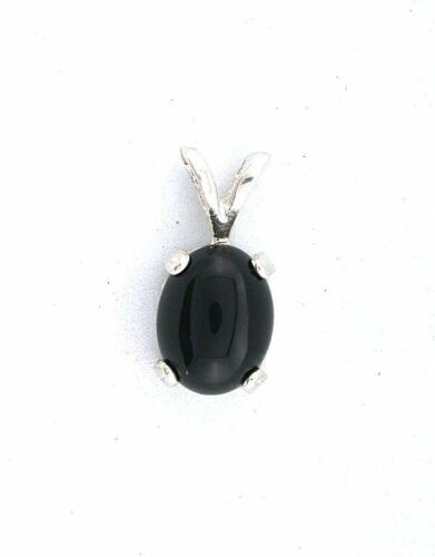 9x7 9mm x 7mm Small Petite Oval Sterling Silver Black Onyx Cabochon Cab Pendant