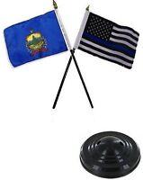 Vermont State & Usa Police Blue 4x6 Flag Desk Set Table Stick Black Base