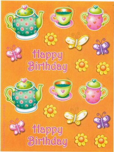 3 Sheets Happy Birthday Tea Party Cups Pot Flowers Scrapbook Stickers!