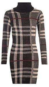 New-Ladies-Polo-Neck-Tartan-Knitted-Midi-Women-Long-Sleeve-Bodycon-Jumper-Dress