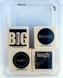 IT's ALL GOOD 4pc Set - Stampin' Up Wood Rubber Stamp in Case SALE