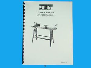 s l300 jet jwl 1236 wood lathe operators manual *193 ebay  at crackthecode.co