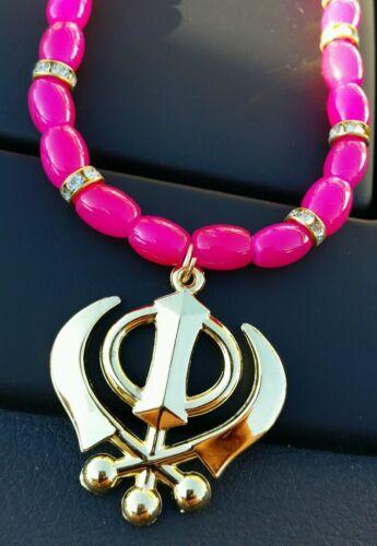GOLD Plated Punjabi Sikh Khanda Pendant Car Rear Mirror Hanging Dark Pink beads