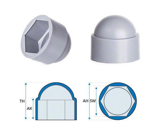 grau bolt bolt bolt nut protection cap cover for screws hexagonal plastic dome screw     | Bunt,  b65c81