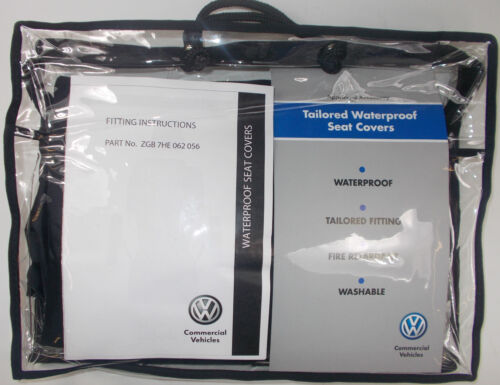VW TRANSPORTER T6 CARAVELLE 2ND ROW RIGHT SINGLE WATERPROOF BLACK SEAT COVER SET