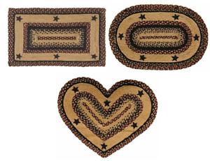 "5/'x8/' IHF Blackberry Star Braided Area Rug Rectangle Oval Heart Jute 20/""x30/"""