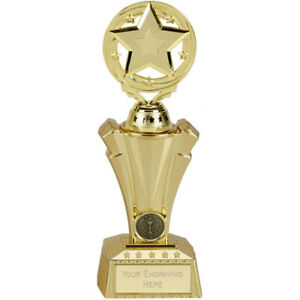 FE104 FEMALE FOOTBALL TROPHY ON HEAVY MARBLE BASE SIZE 15 CM  FREE ENGRAVING