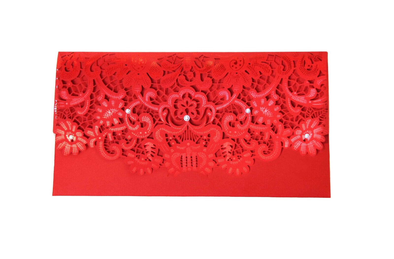 Cupón de regalo de dinero en efectivo Rojo Lasercut Token Billetera Tarjeta Envolvente Boda Cumpleaños