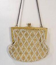 Très jolie bourse, porte monnaie 1900, satin perles…