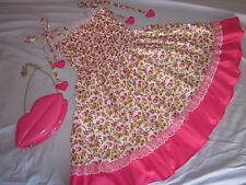 ladies sweet cotton lace layered Lolita pink flower dress with lip bag