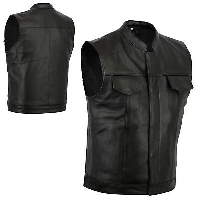 NEW SONS OF ANARCHY STYLE LEATHER VEST GENUINE LEATHER BLACK ZIP /& STUD S 8XL