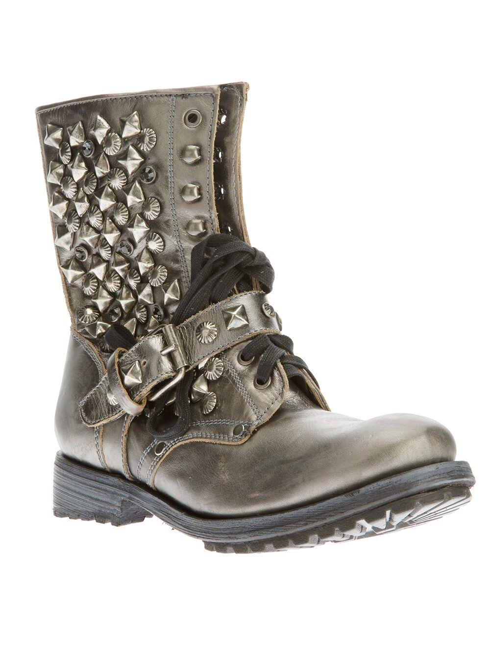 Ash 385 Biker Boot 'ryanna' Grey Metalic Pelle Studded 6pqdrp
