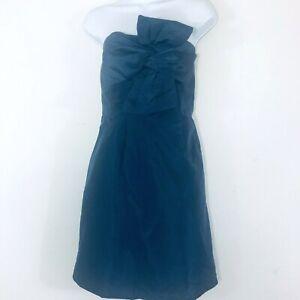 J-Crew-Womens-Dress-Sz-10-Blue-Strapless-Special-Occasion-Cocktail-Silk-QB2