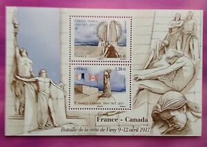 France-2017-CRETE-DE-VIMY-IGM-CANADA-JOINT-ISSUE-SHEET-FRANCE-MNH-BATTLE-WWI