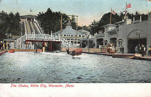 The-Chutes-White-City-Worcester-Massachusetts-Early-Postcard-Unused