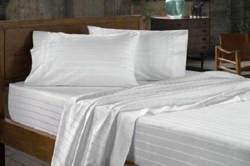1200 TC Pin Striped White Bedding Items All Sizes Egyptian Cotton