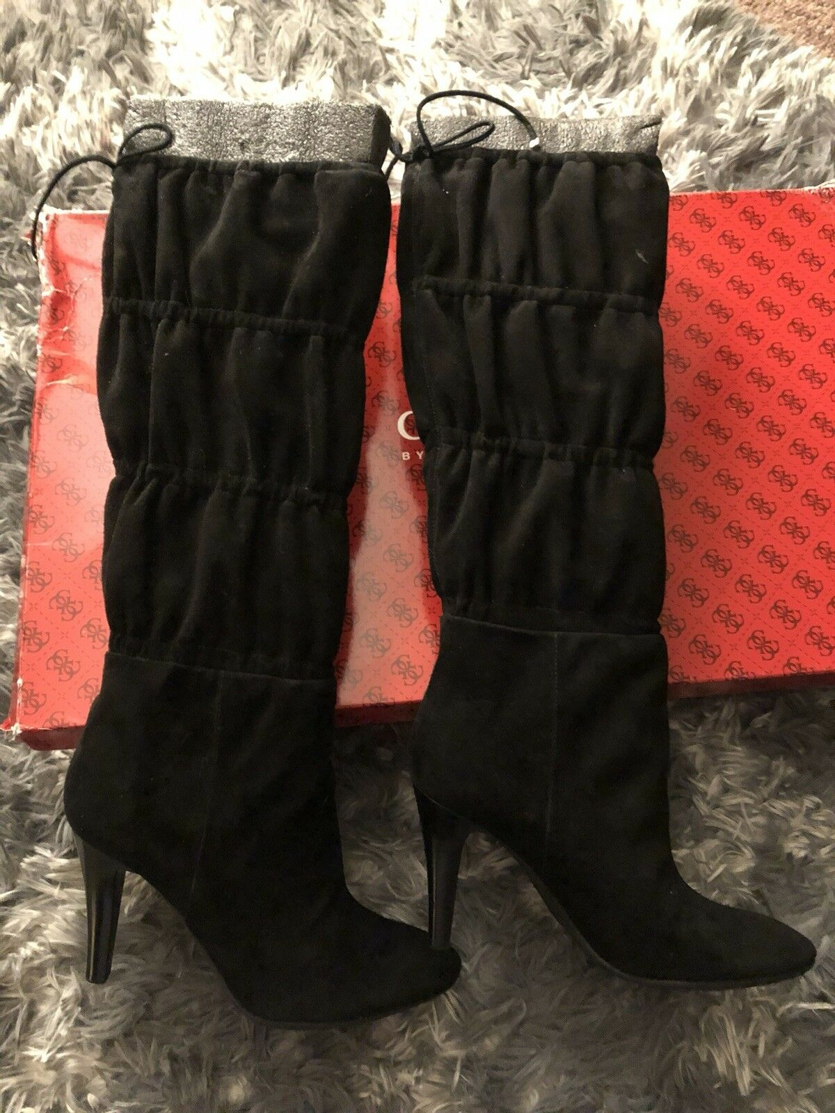 ️ SALE  ️ NEW NEW NEW GUESS BY MARCIANO Black LEATHER SUEDE KNEE BOOTS SIZE 8 8M RARE e8d334