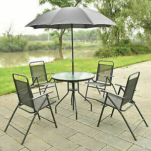Groovy 6 Pcs Patio Garden Set Furniture 4 Folding Chairs Table With Umbrella Gray Machost Co Dining Chair Design Ideas Machostcouk