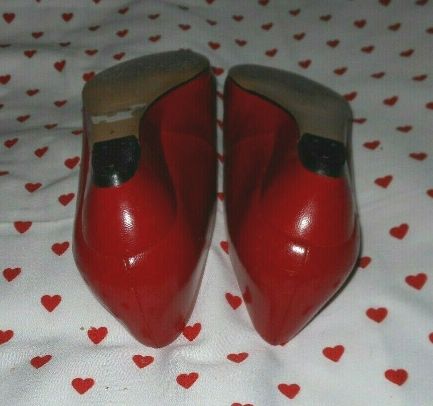 Vintage 1990s Marquise RED Kid Leather Skimmer Fl… - image 7