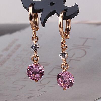 Anniversity Gift enchanting 18k gold filled pink topaz dangle earring