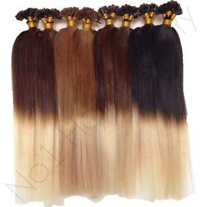 Grade aaa 18 nail tip 100 human hair extensions dip dye ombre 1 image is loading grade aaa 18 034 nail tip 100 human pmusecretfo Image collections