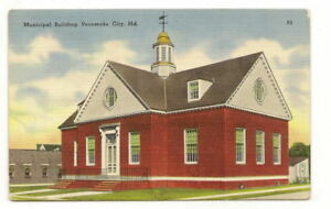 POCOMOKE-CITY-MD-Municipal-Building-Vtg-Linen-Postcard