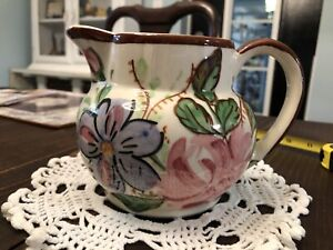Vintage-Blue-Ridge-Southern-Pottery-floral-flowers-USA-pitcher-handpainted-4-5-034