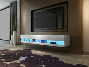 Details About High Gloss Tv Stand Cabinet With Led Lights Entertainment Floating Wall Unit
