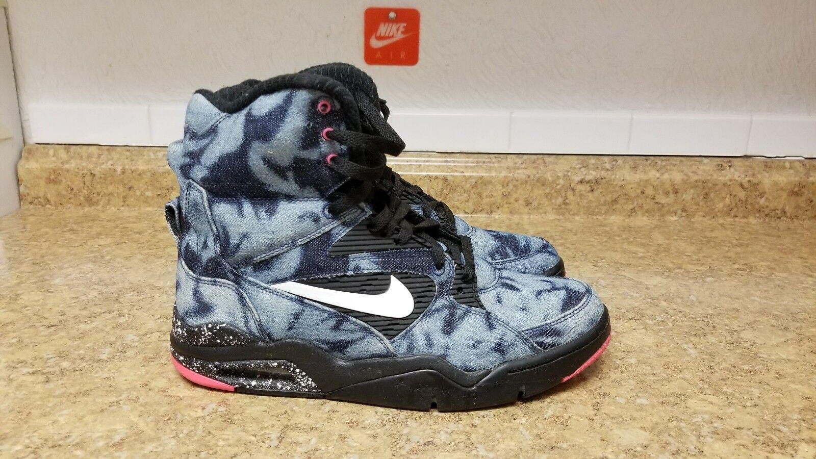 Nike Air Command Force Acid Wash Denim Black Pink shoes (684715 002) - Sz 9