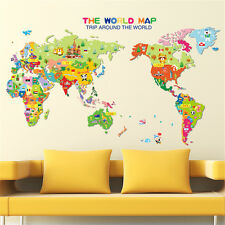 Wallpark early education cartoon alphabet english world map cartoon child world map home room decor removable wall sticker decal decoration gumiabroncs Image collections