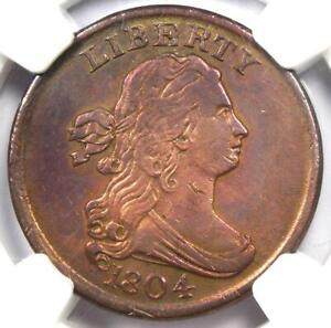 1804 Draped Bust Half Cent 1/2C - Certified NGC AU Detail - Rare Coin!
