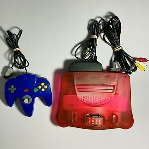 Nintendo-64-Watermelon-Red-Console-w-Controller-amp-Cables