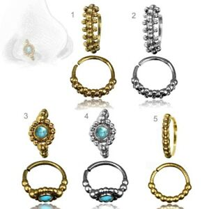 Piercing-Ring-Nasenring-Nasenpiercing-Tuerkis-Vintage-Messing-oder-Silber-Z516