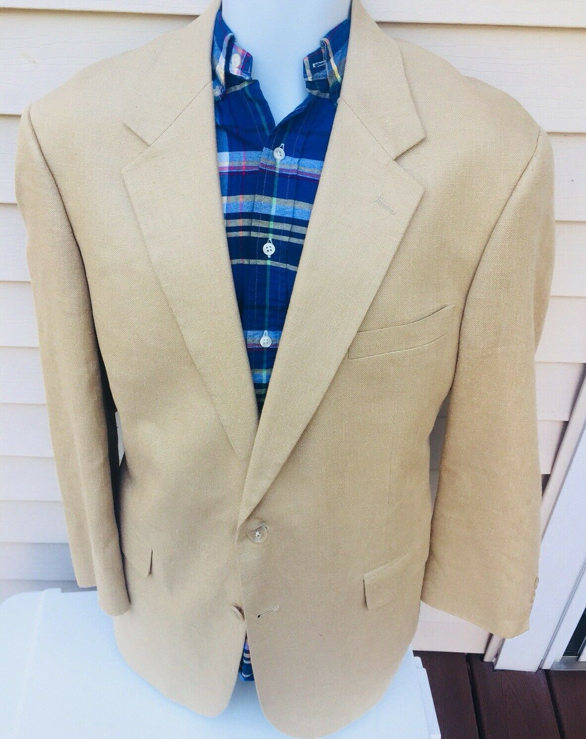 Brooks Bredhers Mens Beige 2 Btn 100% Silk Blazer 43 R USA Made
