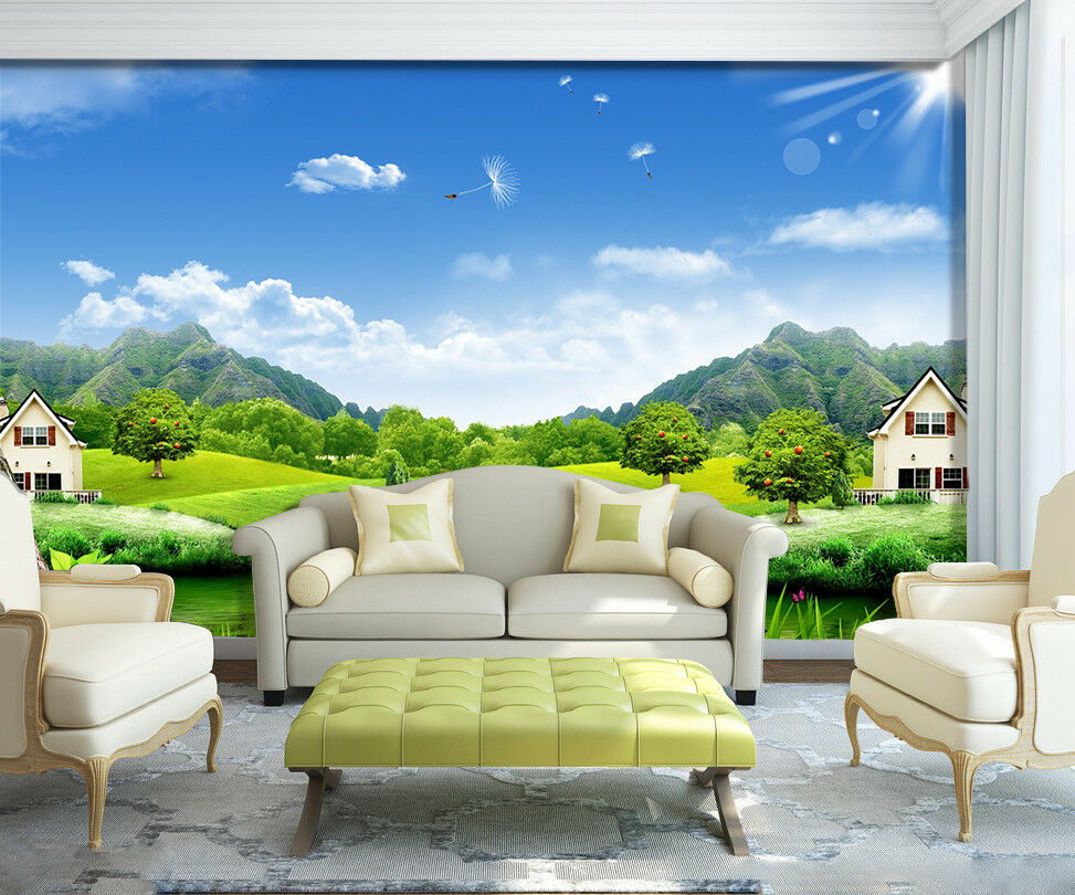 3D Himmel Holz Gras 8089 Tapete Wandgemälde Tapeten Bild Familie DE Jenny
